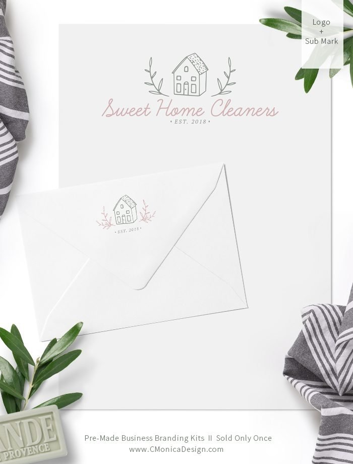 Sweet-Home-Cleaners-Logo-Design-And-Sub-Mark-via-this-Pre-Made-Branding-Kit