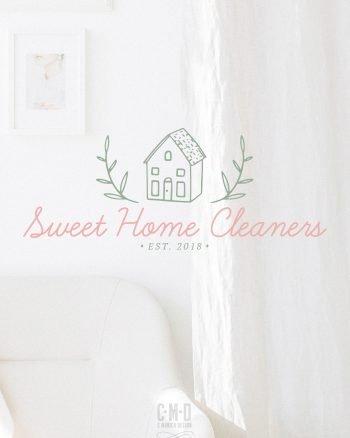 Sweet Home Cleaners Logo Design via this Pre-made branding kit from C Monica Design Studio
