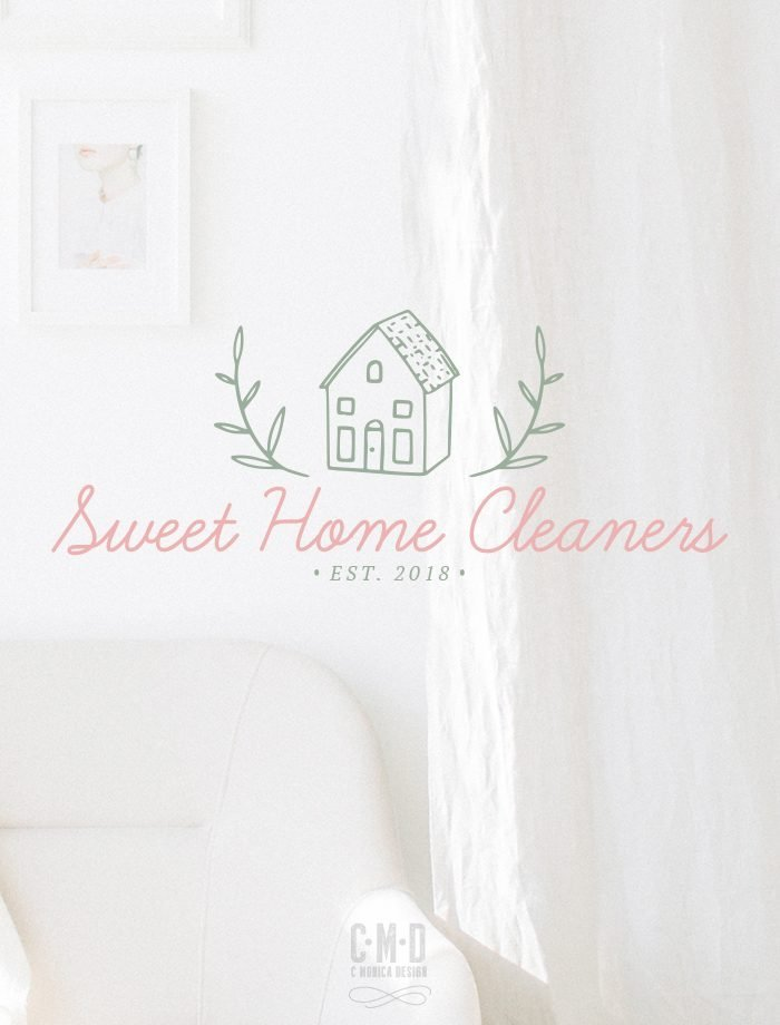 Sweet Home Cleaners Logo Design via this Pre-made branding kit from C Monica Design Studio
