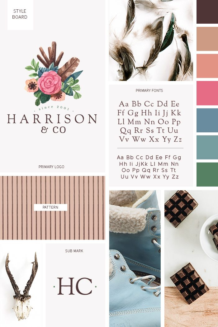 Boho chic style board from our boho themed pre-made branding kit by C Monica Design Studio Harrison & Co