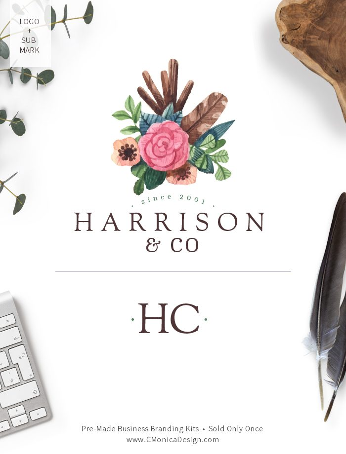Boho chic style logo design and sub mark from our boho themed pre-made branding kit by C Monica Design Studio Harrison & Co