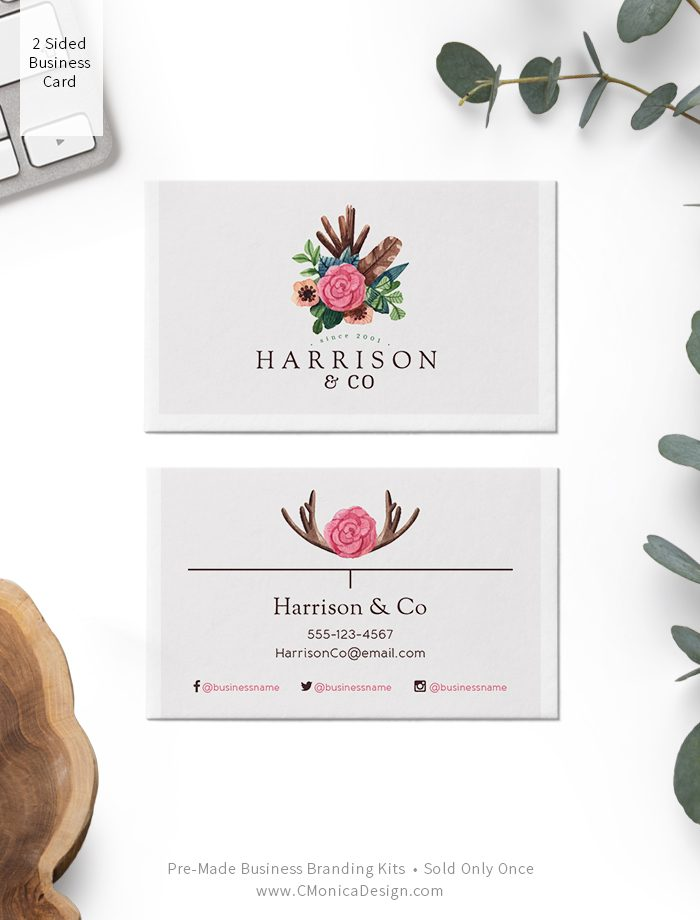 Boho chic style two sided business card design from our boho themed pre-made branding kit by C Monica Design Studio Harrison & Co