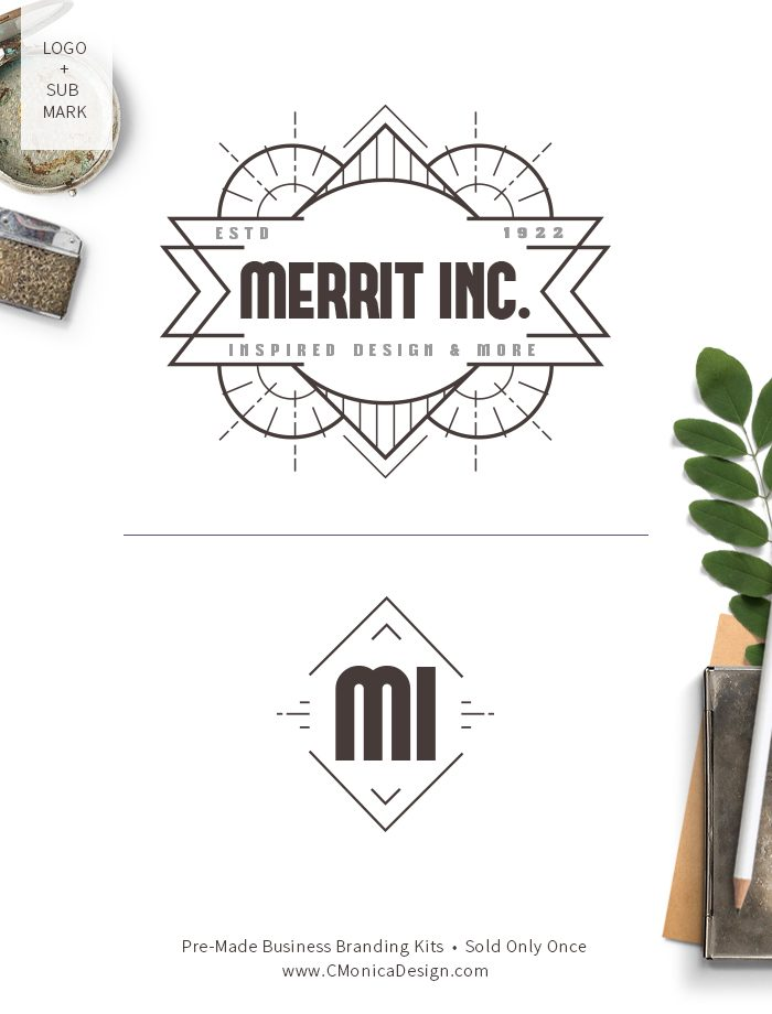 Classy art deco logo design and sub mark from our vintage themed pre-made branding kit by C Monica Design Studio