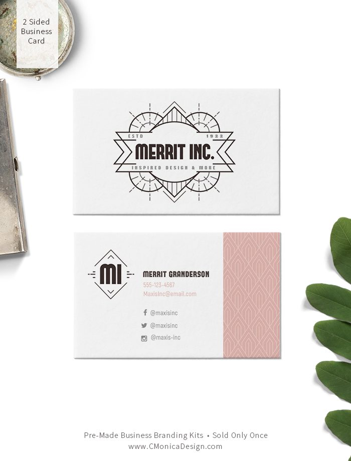 Classy art deco two sided business card design from our vintage themed pre-made branding kit by C Monica Design Studio