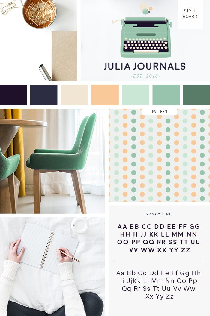Cute mid-century style board from our pre-made branding kit for professionals by C Monica Design Studio
