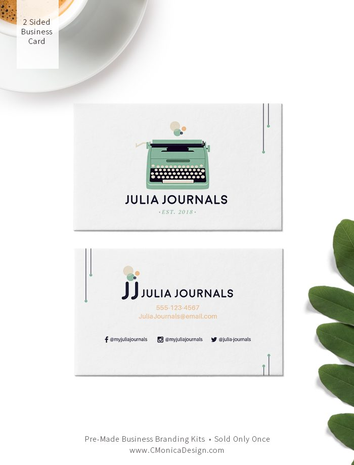 Cute mid-century themed two sided business card design from our pre-made branding kit for professionals by C Monica Design Studio