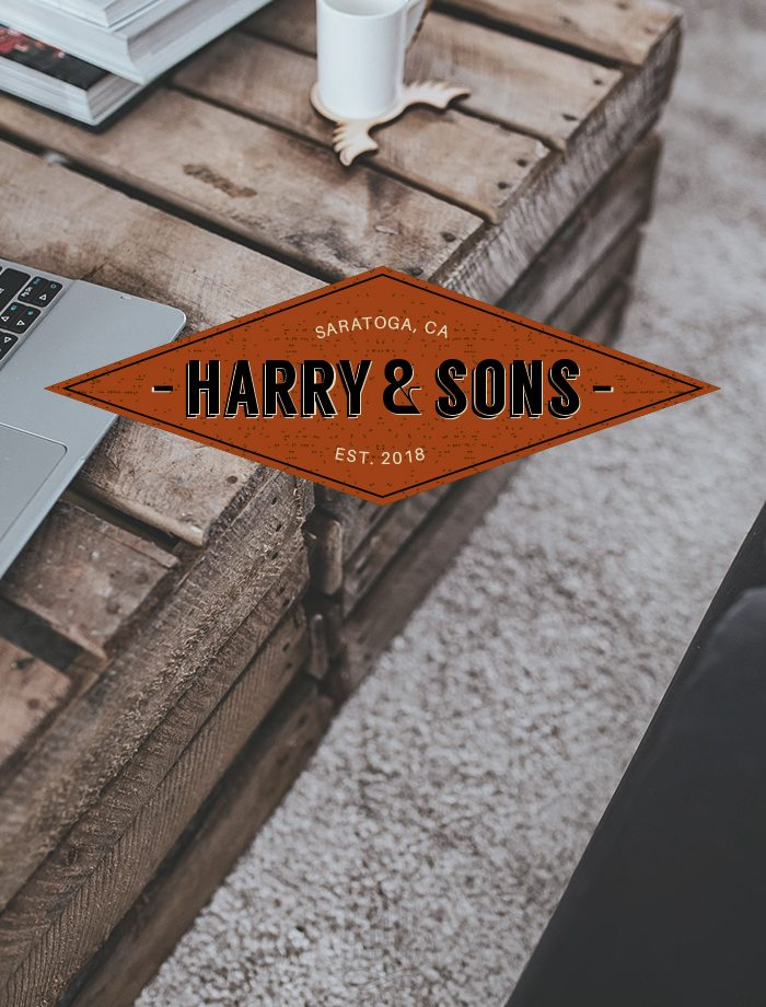 Retro logo design from our retro styled pre-made branding kit by C Monica Design Studio Harry & Sons