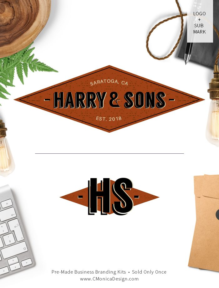 Retro style logo design and sub mark from our retro themed pre-made branding kit by C Monica Design Studio Harry & Sons