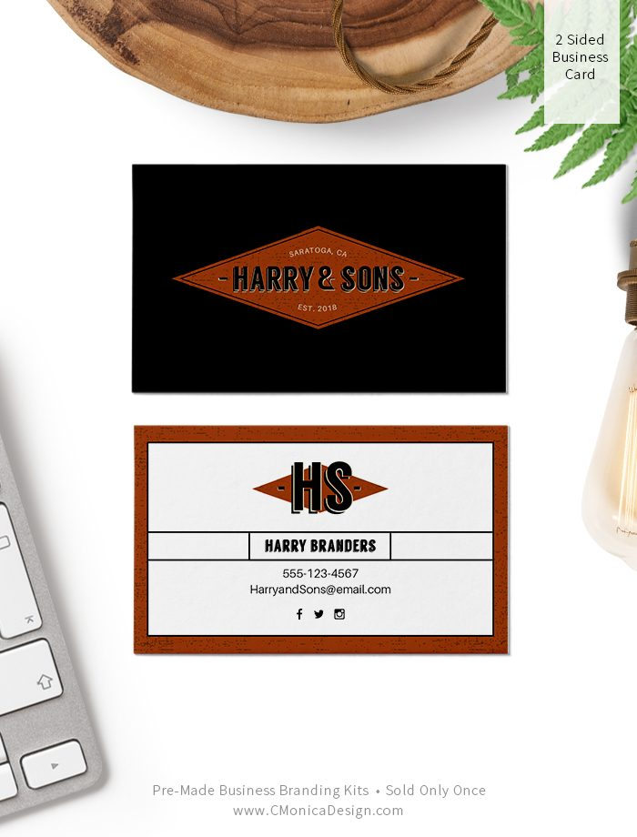 Retro style two sided business card design from our retro themed pre-made branding kit by C Monica Design Studio Harry & Sons